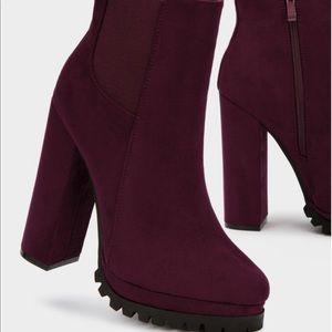 lola Shoes - Miss Lola Burgundy Lug Boot Heel 8.5 fits like 9